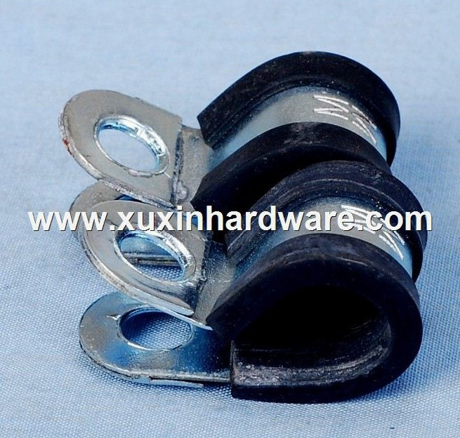 Tube pipe clamp with rubber lined